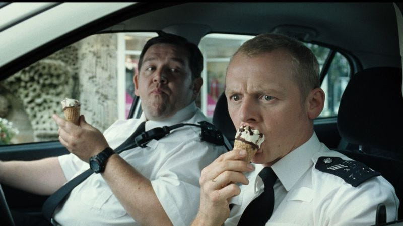 Illustration for article titled Edgar Wright, Simon Pegg, and Nick Frost pay hilarious homage to Bad Boys II and its ilk in Hot Fuzz