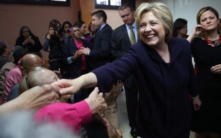 Democratic presidential candidate Hillary Clinton greets members of the community at the Corsi Senior Center on April 15, 2016, in New York City. Justin Sullivan/Getty Images