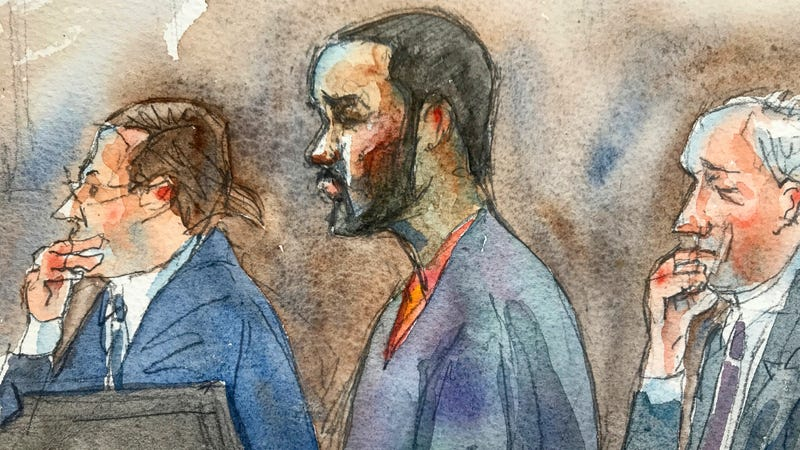 In this courtroom sketch R. Kelly, center, listens in federal court with his attorneys Doug Anton, left, and Steve Greenberg during his arraignment, Aug. 2, 2019, in New York. Kelly pleaded not guilty to federal charges he sexually abused women and girls.