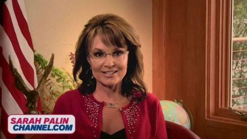 Illustration for article titled Sarah Palin launches her own Internet channel, finally giving you a place to hear Sarah Palin's opinions