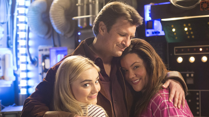 Nathan Fillion, Meg Donnelly, and Katy Mixon on the set of American Housewife.