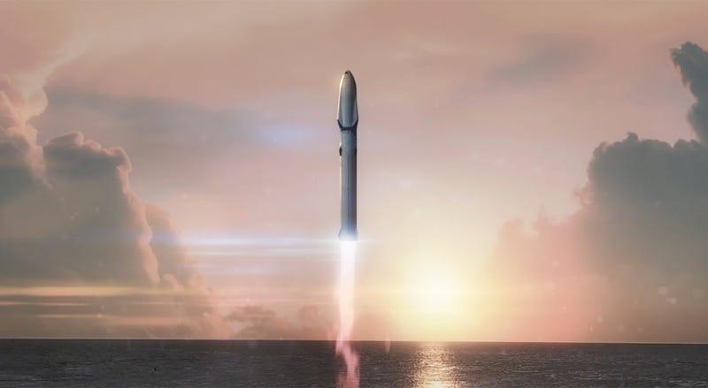 Imagen artística del BFR de SpaceX.