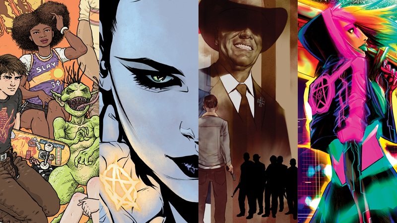 Cover art for the four new Vertigo series launching in 2018—Border Town, Hex Wives, American Carnage, and Goddess Mode.