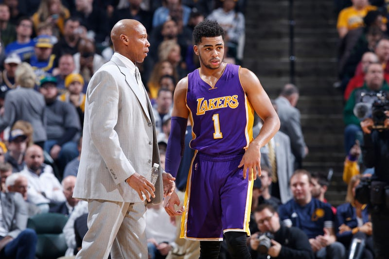 D'Angelo Russell of the Los Angeles Lakers talks with head coach Byron Scott during a game against the Indiana Pacers on Feb. 8, 2016, in Indianapolis.Joe Robbins/Getty Images