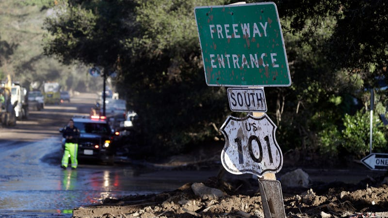 A mud-covered Highway 101 sign after rain and catastrophic debris flows hit California in January.