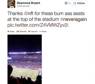 Illustration for article titled Desmond Bryant Is Not Happy With His Seats At The Super Bowl
