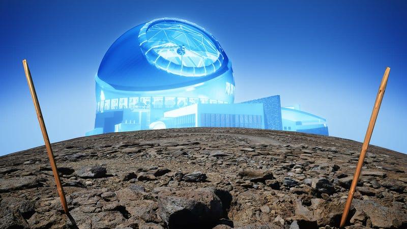 Artist's concept of the Thirty Meter Telescope on Mauna Kea