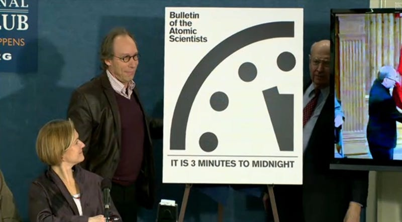 Illustration for article titled The Doomsday Clock Remains at 3 Minutes to Midnight, But That's Horrible News