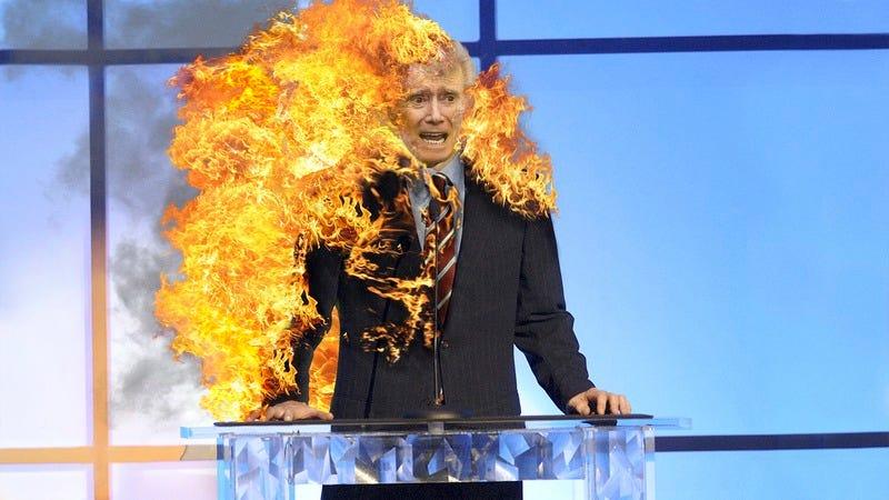 Regis Philbin on fire.