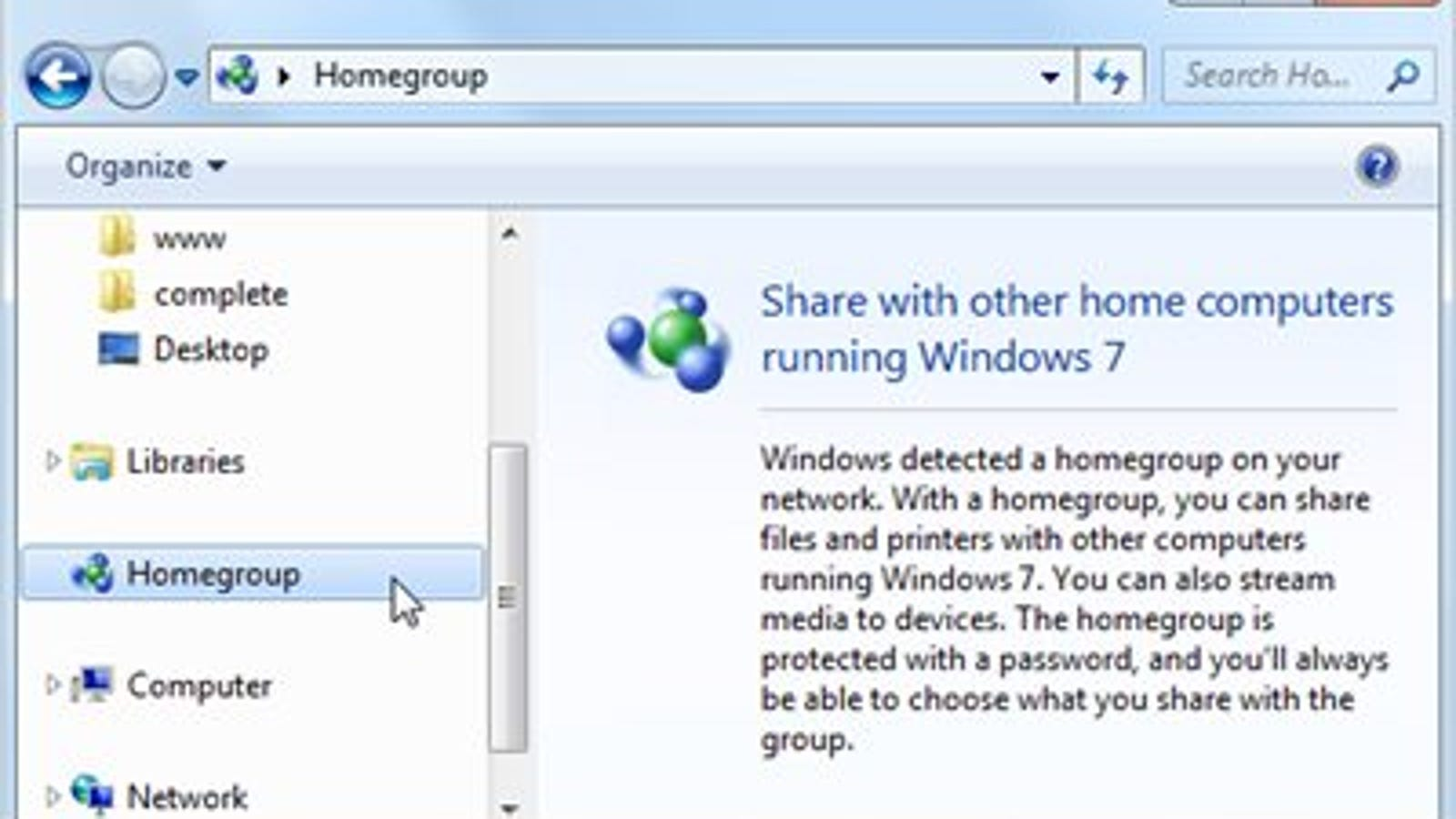 delete homegroup win 7