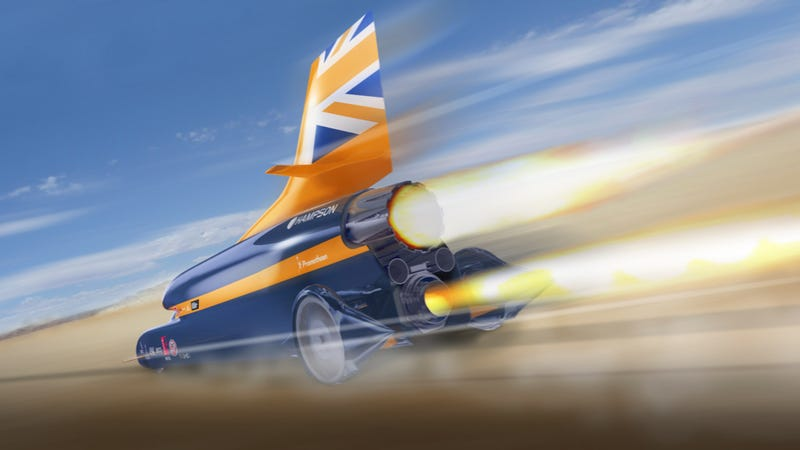 Illustration for article titled This Cruise Missile-Inspired Supersonic Car Will Be Powered By Insane Formula One Rockets