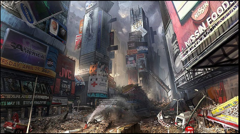 Illustration for article titled Times Square Is Less Of A Hassle After Aliens Blow It Up
