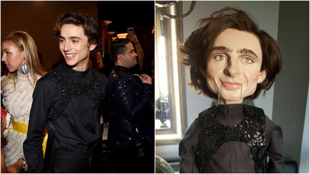 This ventriloquist doll rendering of Timothée Chalamet is 100% haunted