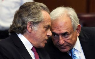 Dominique Strauss-Kahn (right) in court July 1. (Todd Heisler-Pool/Getty Images)