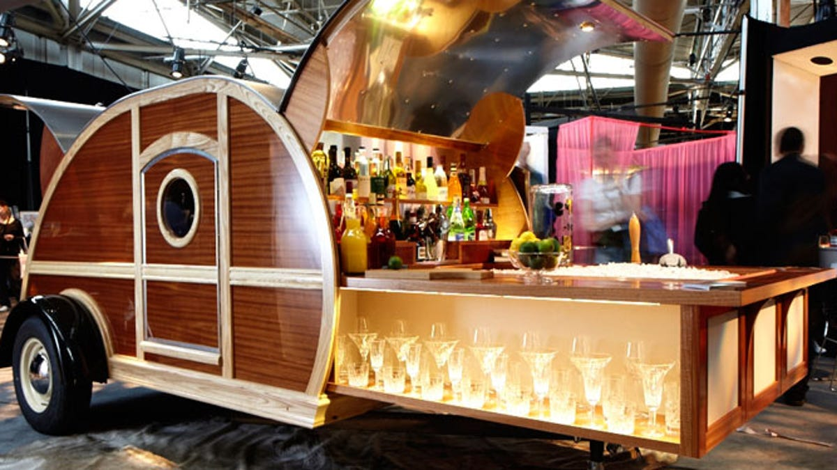 A Woody Trailer With Full Bar Is Travelling The Country For Charity Where It