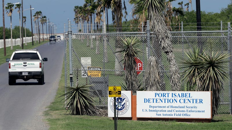A Customs and Border Protection truck leaving an Immigration and Customs Enforcement facility in Los Fresnos, Texas.
