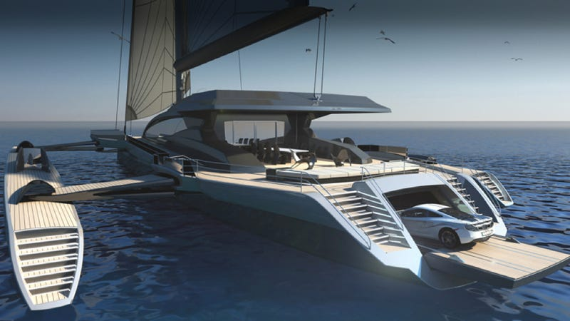 Illustration for article titled The World's Largest Sailing Trimaran Has A Garage For Your McLaren