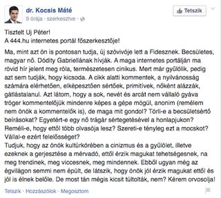 Illustration for article titled Kocsis Máté megszólította Uj Pétert, és orvoslásra kéri