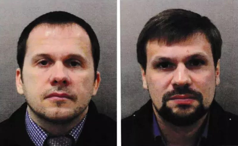Alexander Petrov and Ruslan Boshirov, identified as two suspects who poisoned a Russian double agent in Salisbury earlier this year