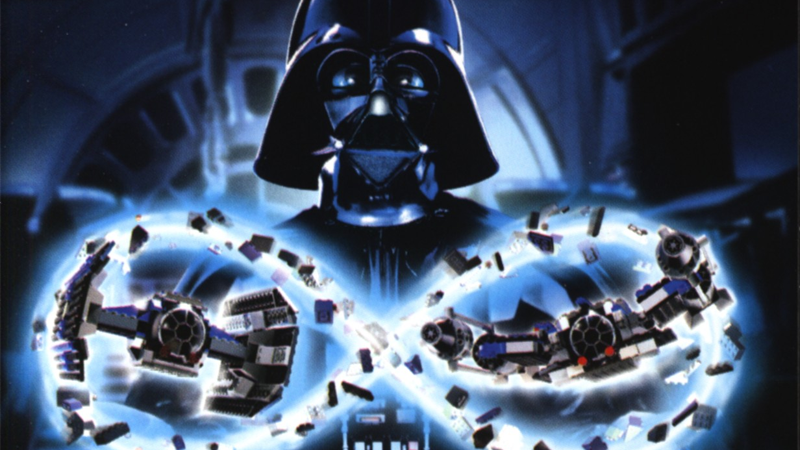 Darth Vader gets his MOC-ing on in one of the first poster ads for Lego Star Wars.