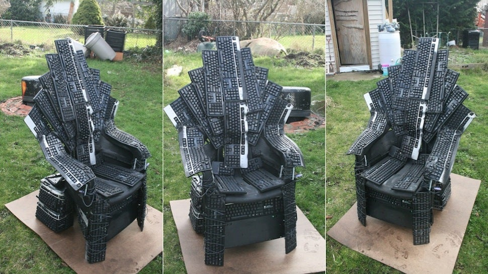 Who cares that the Iron Throne in Game of Thrones is forged from the swords of everyone Aegon conquered. This Throne of Nerds is made by artist Mike DeWolfe ... & We Should All Fight for This Iron Throne Made from Computer Keyboards