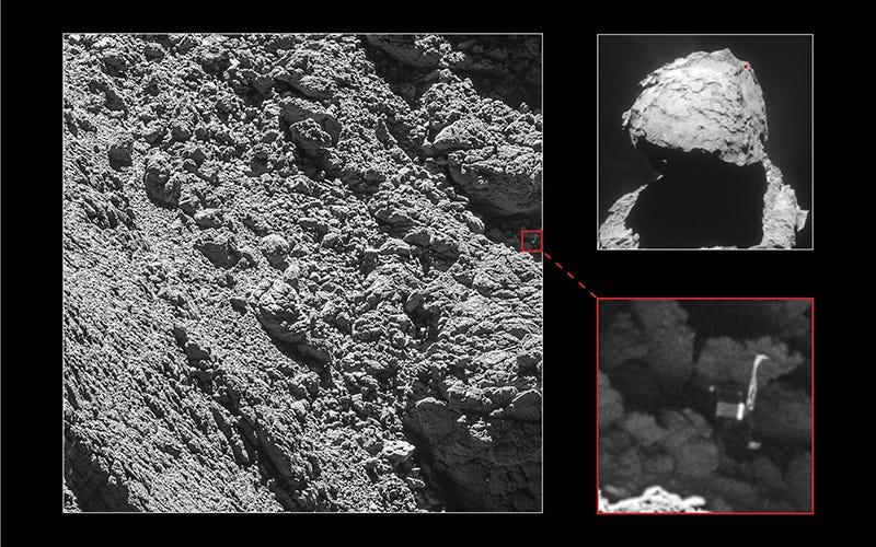 Rosetta's lander Philae was identified in the shadow of a cliff on September 2nd, at a distance of just 2.7 kilometers. Image: ESA/Rosetta/MPS for OSIRIS Team