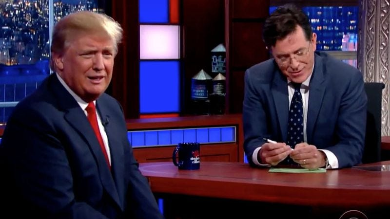 Illustration for article titled Stephen Colbert and Donald Trump had a surprisingly civil conversation on The Late Show