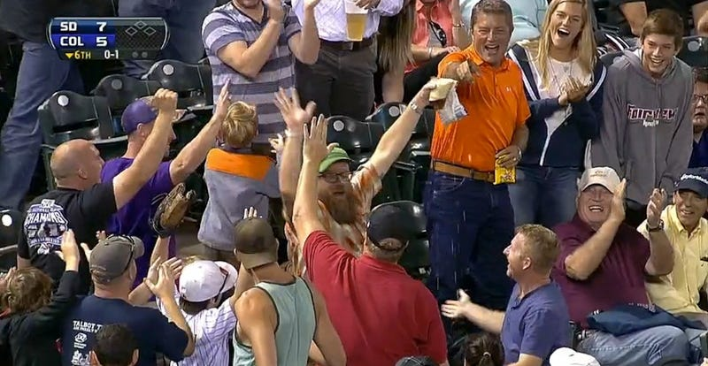 Illustration for article titled Fan At Rockies Game Catches Foul Ball In Beer, Takes Huge Sip