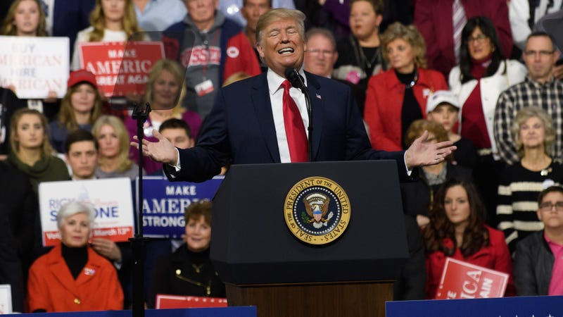 President Donald Trump speaks to supporters at the Atlantic Aviation Hanger on March 10, 2018, in Moon Township, Pa.