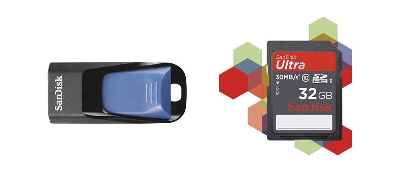 Illustration for article titled [GONE] Pocket an 8GB SanDisk Flash Drive for $5 or a 32GB SDHC Card for $23