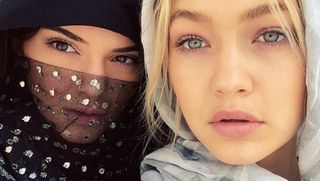 Illustration for article titled Kendall Jenner Rocked A Bedazzled Niqab In Dubai