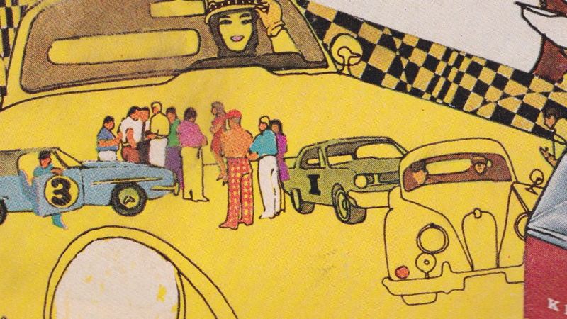 Illustration for article titled Let's Identify The Cars In This Groovy '60s Illustrated Cigarette Ad