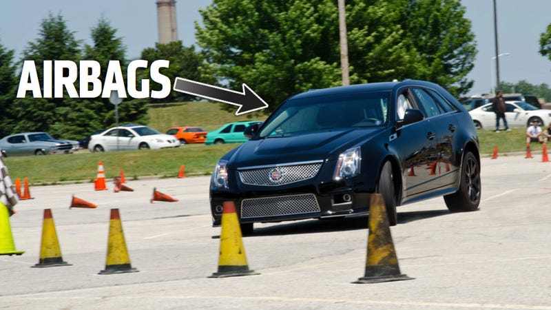 Illustration for article titled Watch A Cadillac CTS-V's Airbags Explode During A Pre-Wedding Autocross