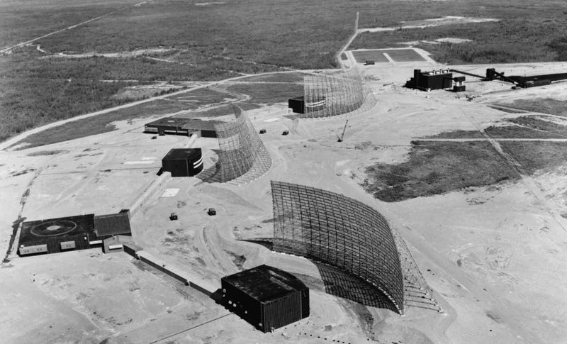 Aerial view of three radar stations at the Ballistic Missile Early Warning System in Anderson, Alaska, in 1962. Image: Wikimedia