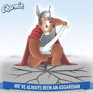 Illustration for article titled Charmin's Thor-themed ad reminds us their toilet paper is Asgardian