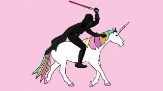 Illustration for article titled See Darth Vader riding a unicorn: It is your destiny!