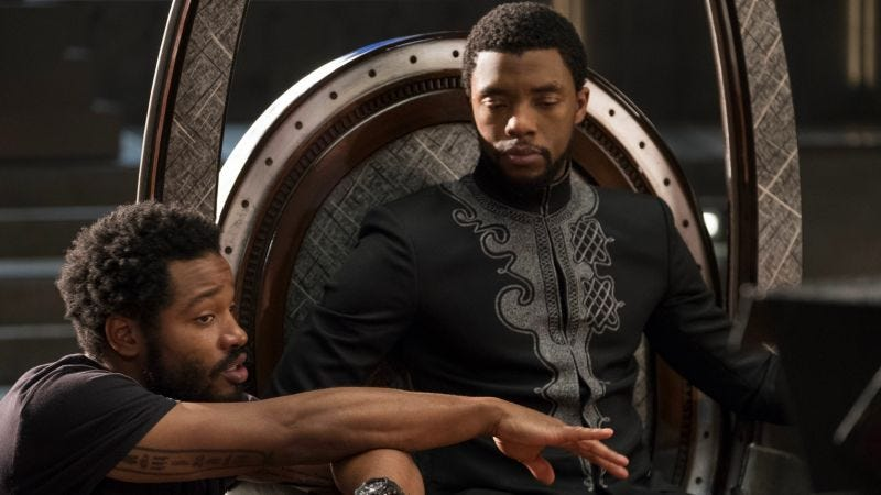 Director Ryan Coogler with Black Panther star Chadwick Boseman. Image: Disney