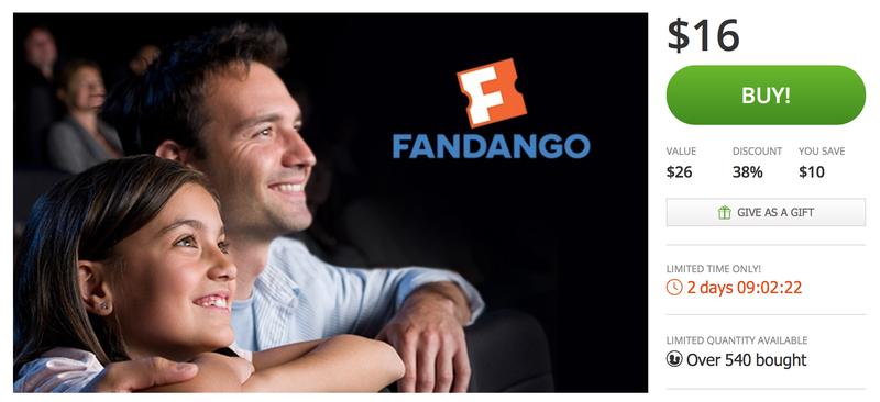 Two Fandango Movie Tickets, $16