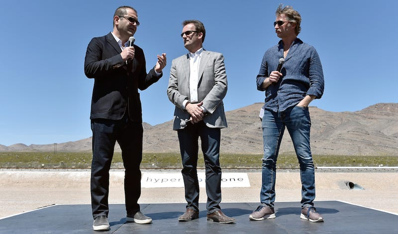 (L-R) Hyperloop One Co-Founder & Executive Chairman Shervin Pishevar, Hyperloop One Chief Executive Officer Rob Lloyd and Co-Founder & Chief Technology Officer Brogan BamBrogan (image: Getty)