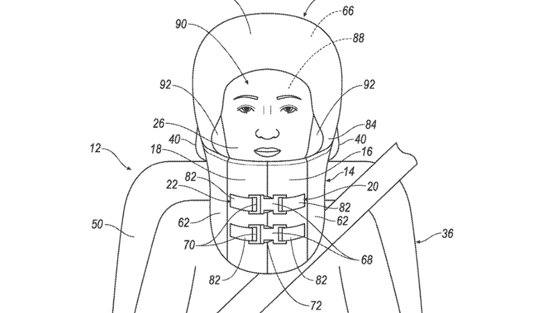 Illustration for article titled Get a Load of These Helmet and 'Burrito' Airbag Patent Applications From Ford