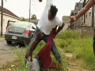 A fight broke out when a rapper objected to another rapper's presence in his New Orleans neighborhood. WWL-TV reporter Eric Paulsen was interviewing rapper Kwame Gates about crime and gun violence.WWL-TV screenshot
