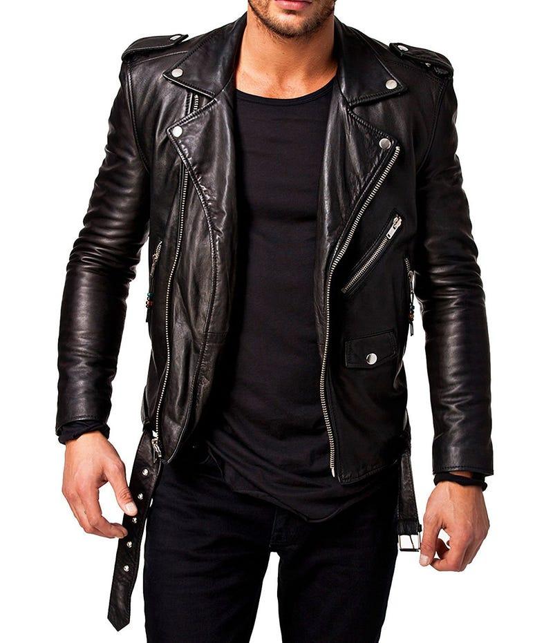 Illustration for article titled New Men's Black Slim fit Biker Style Genuine Sheepskin Leather Jacket