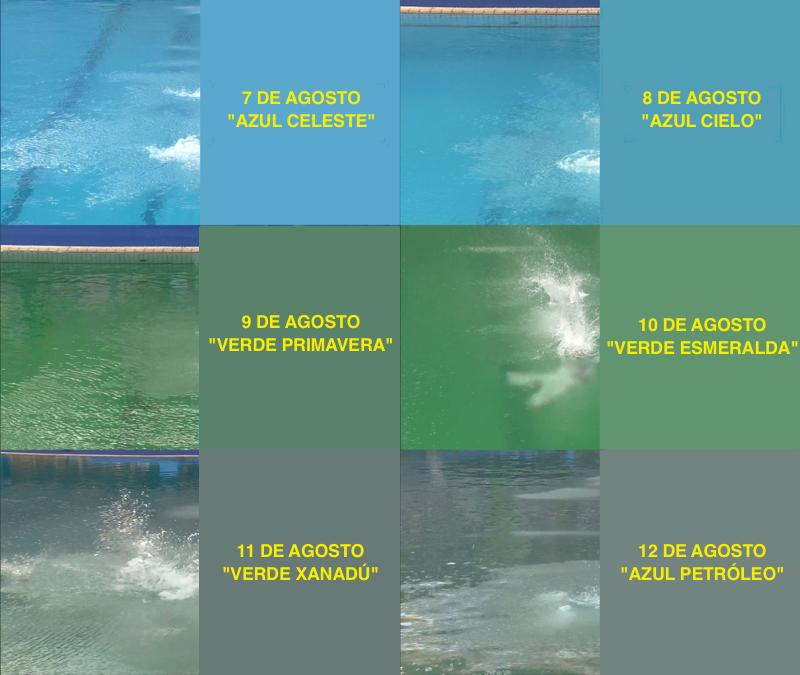 Evolución del color de la piscina olímpica de saltos. Imagen: Timothy Burke / Deadspin