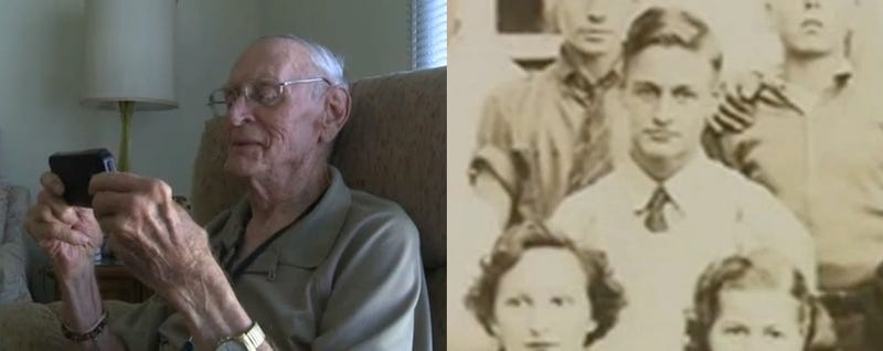 Rodney Wheller looks at a photo of himself from 1938 (captured on a phone) that was discovered in a time capsule (screenshots from Fox 8 Cleveland)