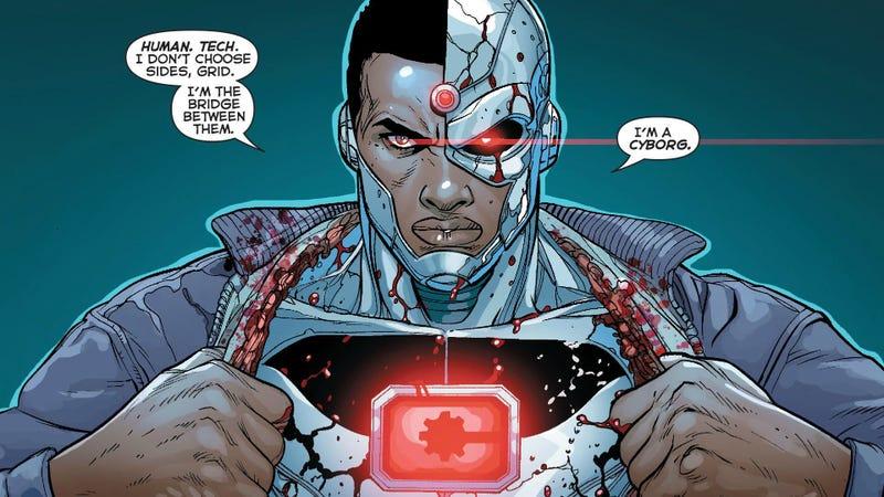 Cyborg explaining his very uninspired name.