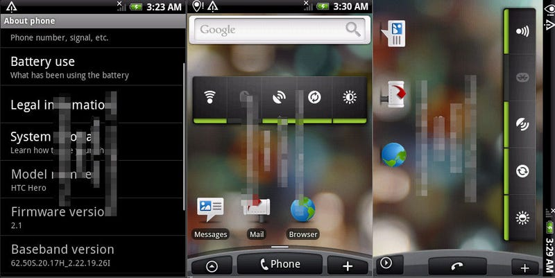 Illustration for article titled Leaked Shots: Android 2.1 Running on HTC Hero