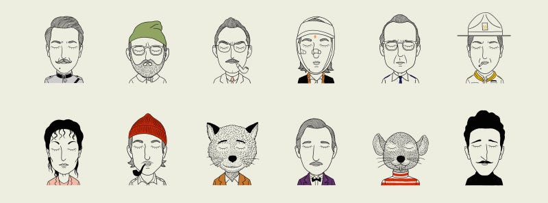 Illustration for article titled Illustrations of characters from Wes Anderson movies