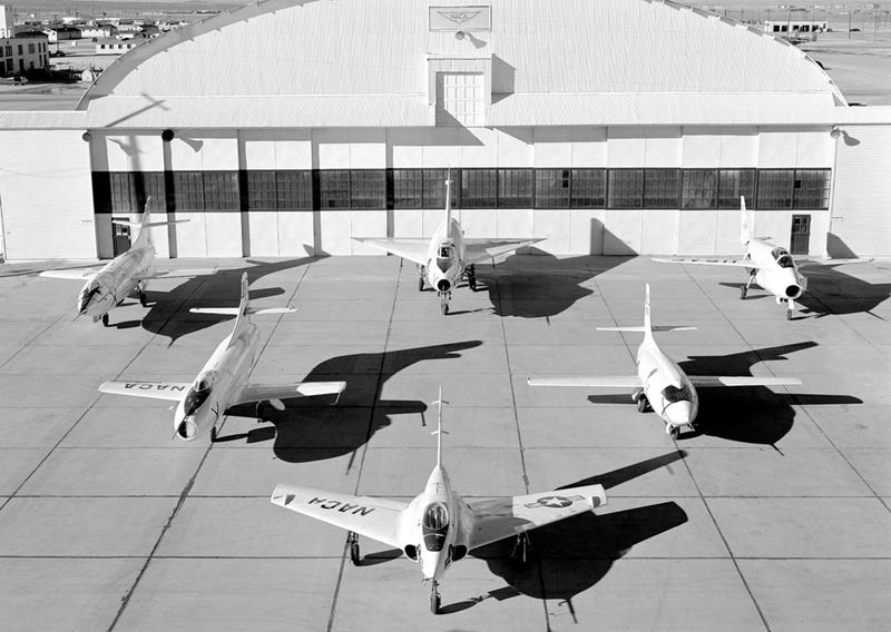 Experimental aircraft at the Dryden Flight Research Center, 1952 (NASA photo)