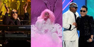 Stevie Wonder, Nicki Minaj and MC Hammer and Psy (Kevin Winter/Getty Images Entertainment)