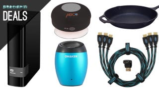 Illustration for article titled A Speaker for Your Shower, Cast Iron Cooking, Tailgate Grill [Deals]